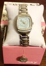 Roxy Watch Crystals Around GUN METAL Blue Face, Stainless Steel Bracelet  NEW