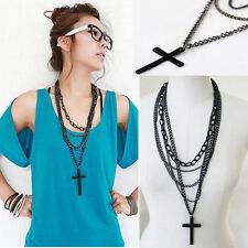 Nouveau style rétro mode vintage pendentif croix chaîne longue collier bijoux cadeau