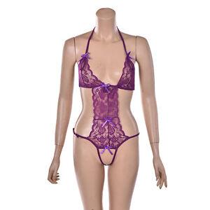 Sexy Women's Lingerie Lace Dress Underwear Babydoll Sleepwear G-string FasY WF)