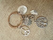Tree of Life Bird Peace Keychain Keyring Keyholder Charm Gift Live Laugh Love