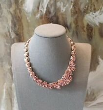 $2300 DIOR Pink Crystal Gold Plated Flower Necklace NWT