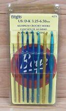 Genuine Wrights (6279) Pack of 8 Aluminum Crochet Hooks D-K 3.25-6.50mm **READ**