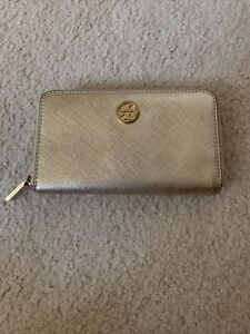 Tory Burch Wallet Wristlet Gold Used FREE SHIP