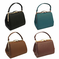 New VTG 1940s 1950's Classic Framed Leather look Box Bag Black Brown Coffee Teal