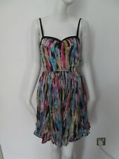 M N G SUITE -  MULTI STRIP. 100% SILK,SWEETHEART NECK. SLEEVELESS  DRESS SIZE S