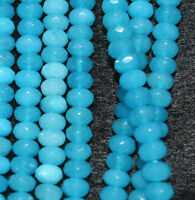 "New 5x8mm  Blue Faceted Brazilian Aquamarine Roundel Loose Beads 15"" AAA"