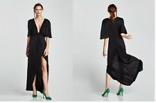 NEW Long Black Draped Slit Dress With Knot Maxi Satin Plunge Neck XS Extra Small
