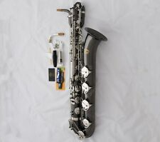 Professional Eb Baritone Saxophone Black Silver Nickel Low A Bari sax With Case