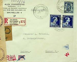 BELGIUM 1944 FAMOUS PEOPLE COAT OF ARMS PAIR+1v WWII CENSOR COVER TO SWITZERLAND