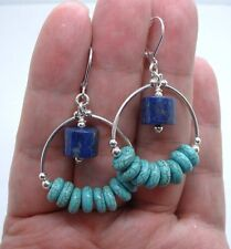Quality Blue Lapis Lazuli W. Green Matrix Turquoise Sterling Silver Earrings