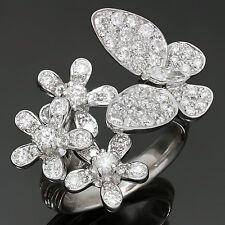 Exquisite! Diamond 18k White Gold Butterfly Flower Ring