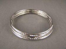 "Silver tone set pack of 7 metal thin skinny bangle bracelet shiny 2.75"" wide"
