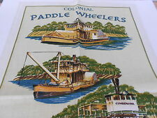 VINTAGE SOUVENIR TEA TOWEL LINEN/COTTON BLEND BY ROSS 'PADDLE WHEELERS' NEW