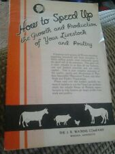 HOW TO SPEED UP GROWTH & PRODUCTION OF YOUR LIVESTOCK & POULTRY WATKINS CO.