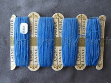 R392 Mercerie ancienne carte fil 4 bobines LAINE SAINT PIERRE bleu Lyon Paris