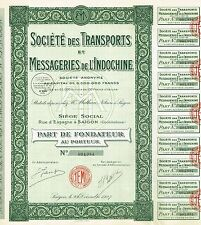 INDOCHINA TRANSPORT COURIER COMPANY stock certificate 1927