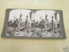 WW1 STEREOVIEW - FRENCH GRAVES SMASHED BY GERMAN SHELL FIRE