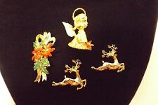 Gerry's Lot of 4 Christmas Xmas Holiday Brooches Angel Poinsettia Reindeer