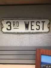 Vintage Metal 1900's 3rd West Embossed Street Sign