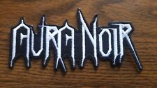 AURA NOIR,IRON ON WHITE EMBROIDERED PATCH