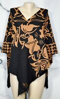 MING WANG NEW NWT Black Brown 2017 Hope Wrap One Size MGWP172 Rayon Blend Knit