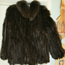 BEAUTIFUL HENIG FURS DARK BROWN FINLAND FOX W/ SUEDE INSERTS FUR JACKET M ?