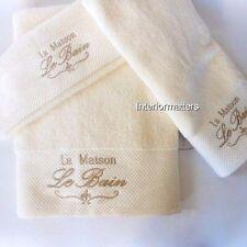 Sophia Le Bain La Maison 6PC 100% COTTON BATH TOWEL SET Cream Tan Embroidery NEW