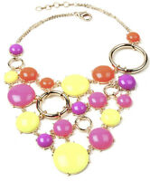 Amrita Singh Neon Bubble Resin Gold Plated Statement Necklace NKC 5166 NWT