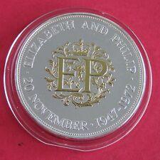 1972 Elizabeth & Philip corona de plata en capas en plata y acentuado en oro 22ct