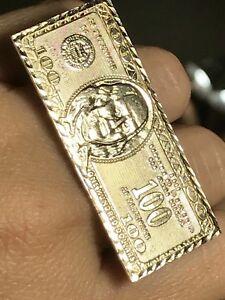 GOLD ring mens knuckle bar multi 2 finger $100 dollar 10k money 10 11 8 9 12 13
