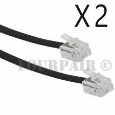 2 Pack Lot - 7ft Telephone Line Cord Cable 6P4C RJ11 DSL Modem Fax Phone - Black