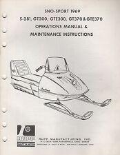 1969 RUPP SNOWMOBILE SNO-SPORT S-281,GT300,GTE300 OPERATIONS,MAINTENANCE (959)