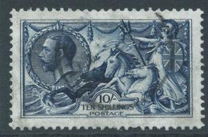 GB George V SG402 10/- indigo-blue Waterlow printing - fine used. Cat £1000