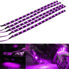 4pcs Purpe 15 LED 30cm Car SUV Grille Flexible Waterproof Light Strip SMD 12V