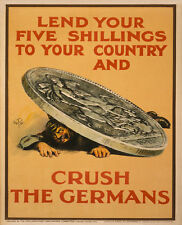 LEND YOUR FIVE SHILLINGS TO YOUR COUNTRY PROPAGANDA WAR  METAL TIN SIGN POSTER