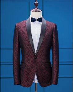 Men Burgundy Paisley Floral Suit Blazer Prom Groom Tuxedo Wedding Jacket 40R/M