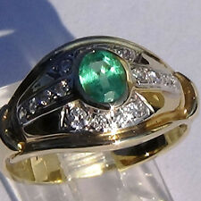 NATURAL EMERALD & DIAMOND RING 14K SOLID GOLD US size 6