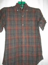 Size S 14 -14 1/2  Vintage Ponderosa Plaid Wool Short Sleeve WPL 6696 Shirt