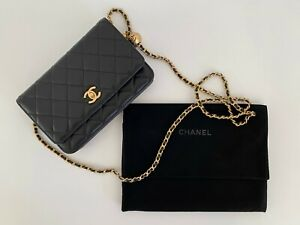 Chanel Classic Wallet on Chain Authentic Black/Gold Handbag tone hardware