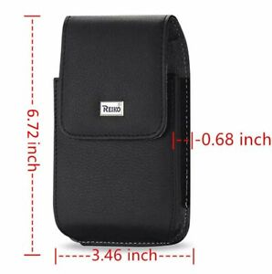 "For LG V60 ThinQ 5G (6.8"") - Black Leather Vertical Holster Pouch Belt Clip Case"