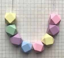 Handmade Pastel Rainbow Multi Colour Geometric Wood Bead Statement Necklace. NEW