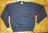 NEW Vtg Jerzees Dark Blue Blank Sweatshirt 50/50 USA Made LARGE Deadstock NWOT