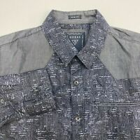 Guess Button Up Shirt Men's Small Long Sleeve Black Gray Slim Fit Casual Cotton