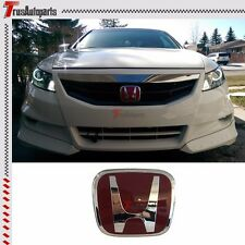 "Fit 06-12 Honda Civic Coupe JDM Red H Front Grill Emblem Badge FG1 FG2 4.75""x4"""