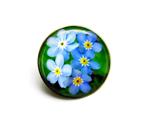 Gold Tone Forget-Me-Not Flower Photo 25mm Brooch