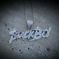 2.80Ct Round Cut Diamond Stackboi Pendant Fully Iced Out 14K White Gold Finish