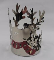 Yankee Candle Christmas Winter Silver Reindeer Jar Holder for Med/Large Jars NEW