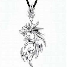 Black Necklace/Chain with Stainless Steel Dragon Pendant