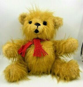 """Handmade Vintage Long Mohair Teddy Bear Absolutely Beautiful 13"""" tall red scarf"""