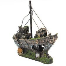 Fish Tank Cave Decoration Aquarium Ornament Wreck Sunk Ship Sailing Boat H5X5